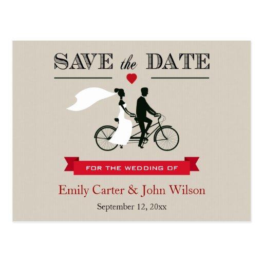 Reserva en tándem del boda de la bicicleta la post tarjeta postal