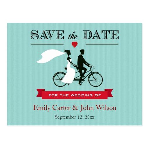 Reserva en tándem del boda de la bicicleta la post tarjetas postales