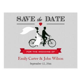 Reserva en tándem del boda de la bicicleta la post