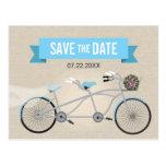 Reserva en tándem del boda de la bicicleta la postal