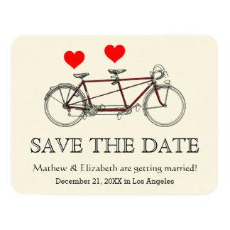 """Reserva en tándem linda del boda de la bicicleta invitación 4.25"""" x 5.5"""""""