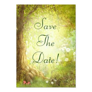 """Reserva encantada de la escena del bosque el boda invitación 5"""" x 7"""""""