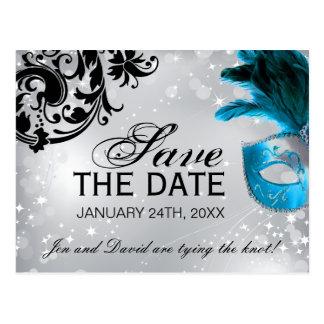 Reserva enmascarada del boda la fecha postal