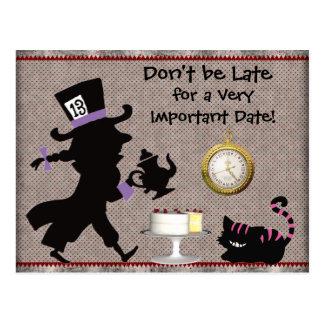 Reserva enojada de la fiesta del té del sombrerero postal