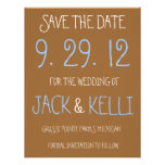 Reserva--Fecha rústica del boda de Brown Invitacion Personalizada