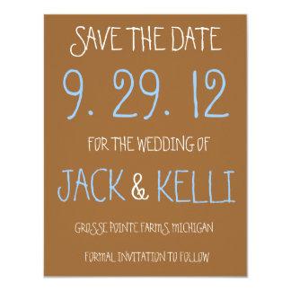 Reserva--Fecha rústica del boda de Brown Invitación 10,8 X 13,9 Cm