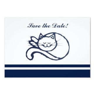 """Reserva feliz azul del gato la fecha invitación 3.5"""" x 5"""""""