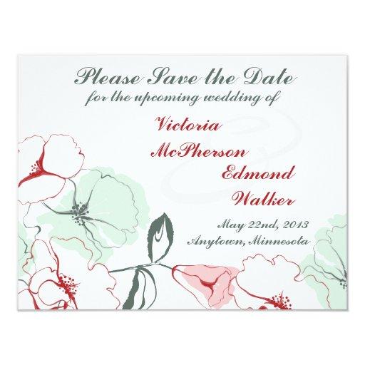Reserva floral abstracta la invitación del boda de
