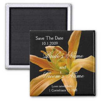 Reserva floral anaranjada el imán de la fecha
