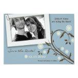 reserva floral azul de la foto 5x7 la invitación