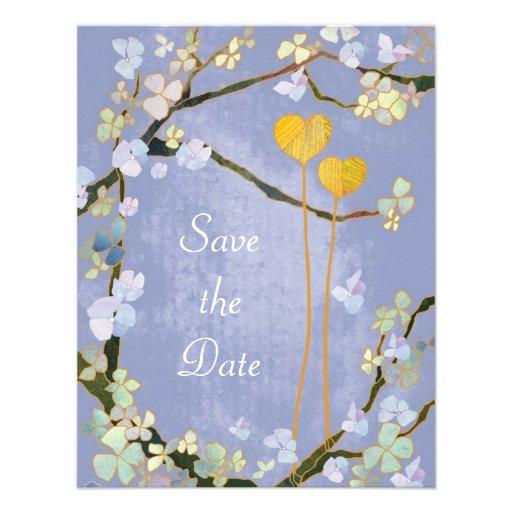 Reserva floral azul del boda de dos corazones la f invitaciones personales