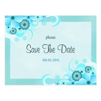 Reserva floral azul del boda de la aguamarina postal