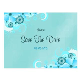 Reserva floral azul del boda de la aguamarina tarjetas postales