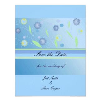 """Reserva floral azul elegante la fecha invitación 4.25"""" x 5.5"""""""