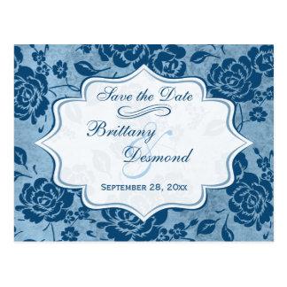 Reserva floral blanca azul polvorienta del boda la tarjetas postales