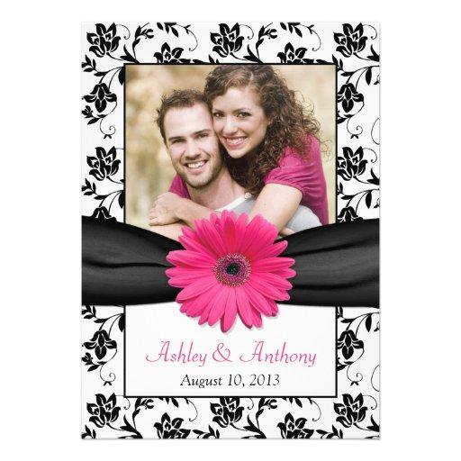 Reserva floral blanca de la foto del negro rosado  comunicado personal