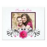 Reserva floral blanca del negro rosado del Gerbera Comunicado Personalizado