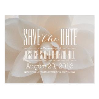 Reserva floral blanca elegante del boda la fecha tarjeta postal