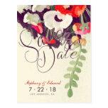Reserva floral blanca roja romántica la postal de