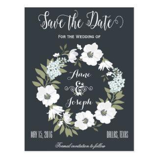 Reserva floral blanco y negro la fecha postales