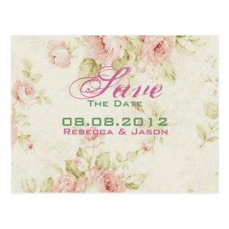 Reserva floral color de rosa rosada del boda del postales