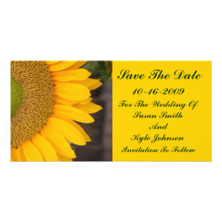 Reserva floral de centro del boda del girasol la f tarjeta fotográfica