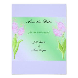 """Reserva floral de color de malva y verde elegante invitación 4.25"""" x 5.5"""""""