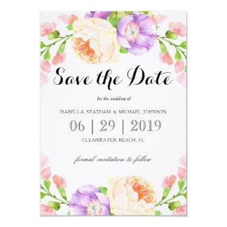 """Reserva floral de la acuarela elegante la fecha invitación 5"""" x 7"""""""