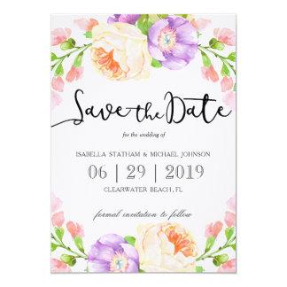 """Reserva floral de la acuarela elegante """"la fecha """" invitación 5"""" x 7"""""""