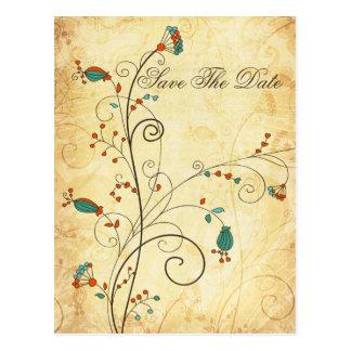 reserva floral de la aguamarina rústica del tarjetas postales