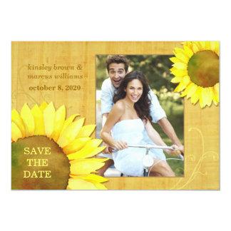 """Reserva floral de la foto de los girasoles invitación 5"""" x 7"""""""