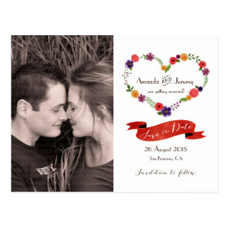Reserva floral de la guirnalda del corazón de la tarjetas postales