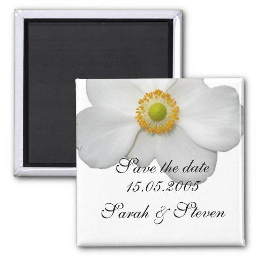 Reserva floral de la primavera blanca de lujo la f imanes