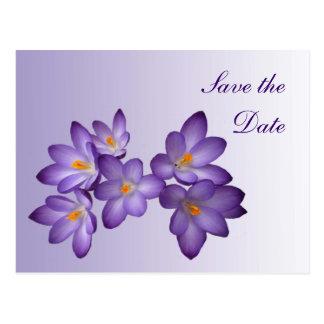 Reserva floral de la primavera púrpura el boda de postales