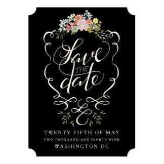 """Reserva floral de las letras de la mano del jardín invitación 5"""" x 7"""""""