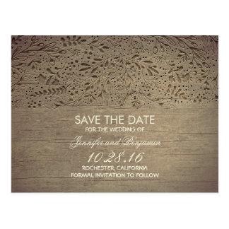 reserva floral de madera rústica la fecha tarjetas postales