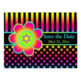 Reserva floral de neón de Mitzvah del palo de las Tarjetas Postales