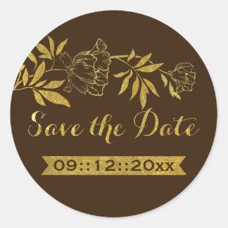 Reserva floral del boda de los peonies de la hoja pegatina redonda