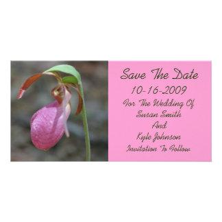 Reserva floral del boda de señora deslizador rosad tarjetas fotograficas