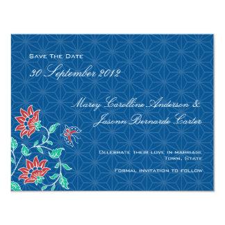 Reserva floral del boda del batik de Aiyana la Invitación 10,8 X 13,9 Cm