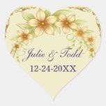 Reserva floral del boda del marco del vintage la calcomanías de corazones