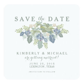 Reserva floral del boda del ramo suculento la invitación 13,3 cm x 13,3cm