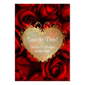 Reserva floral del boda del rosa rojo la fecha tarjeta de visita