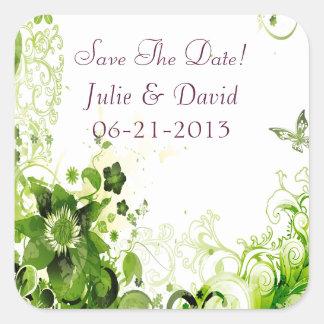 Reserva floral del boda del verde esmeralda de la calcomanías cuadradass personalizadas