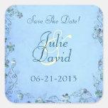Reserva floral del boda del vintage azul la fecha calcomania cuadradas