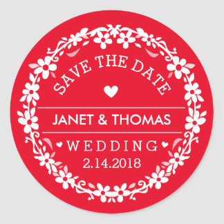 Reserva floral del boda rojo y blanco la fecha pegatina redonda