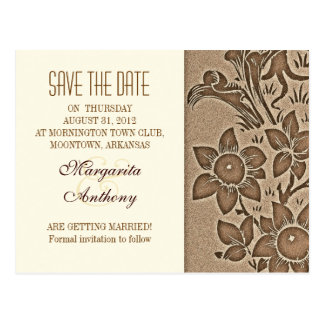 reserva floral del damasco del vintage marrón la postal