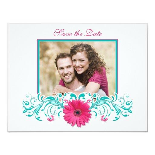 """Reserva floral del Gerbera rosado la tarjeta de Invitación 4.25"""" X 5.5"""""""