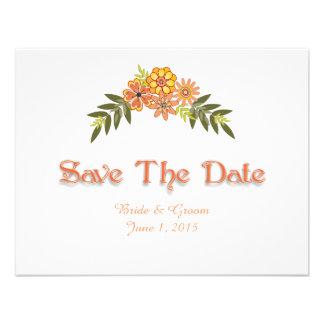 Reserva floral del naranja del marco la tarjeta de comunicados personalizados