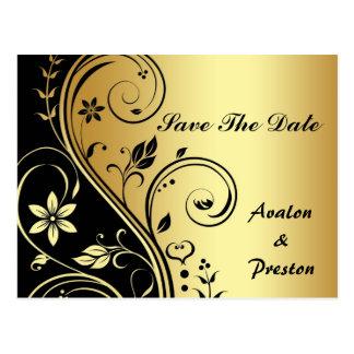 Reserva floral del oro y de la voluta del negro la postales